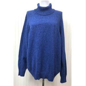 Karen Scott NWT 1X Turtleneck Sweater Blue Cotton